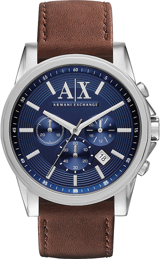Armani Exchange  Armani Exchange Brown leather strap watch