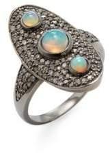 Diamond, Opal and Silver Goddess Ring