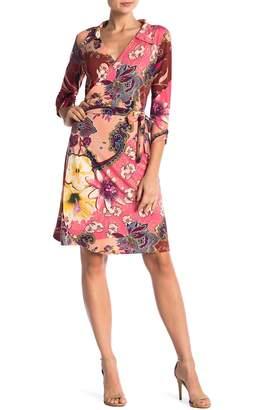 24/7 Comfort Rose Collared V-Neck 3/4 Sleeve Wrap Dress (Regular & Plus Size)