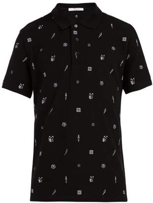 Givenchy Embroidered Motif Cotton Polo Shirt - Mens - Black