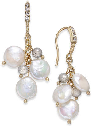 Paul & Pitu Naturally Gold-Tone Pave, Bead & Imitation Pearl Drop Earrings