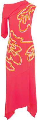 Asymmetric Chenille-trimmed Crepe Midi Dress - Papaya