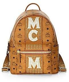 MCM Women's Stark Stud Stripe Coated Canvas Backpack