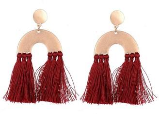 Jon Richard Jewellery Burgundy Abstract Tassel Pendant Earrings
