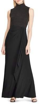 Lauren Ralph Lauren Ruffle-Trim Mockneck Gown