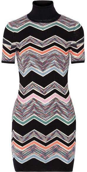 Missoni - Zigzag Wool-blend Mini Dress - Black