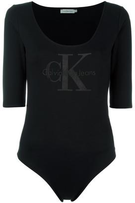 Calvin Klein Jeans logo longsleeved cropped T-shirt $76.55 thestylecure.com