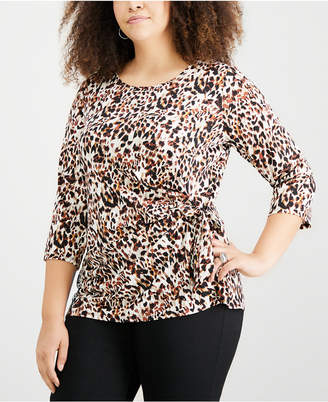 NY Collection Plus Size Bow-Trim Top
