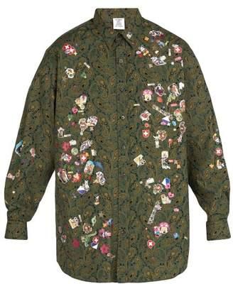 Vetements Sticker Print Cotton Shirt - Mens - Green