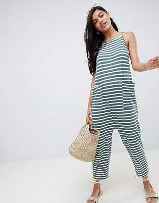 Asos Design Jersey Minimal Jumpsuit With Ties In Stripe