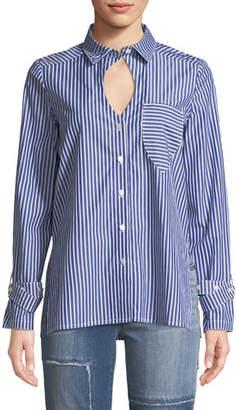 Victoria / Tomas Striped Buckle-Cuff Keyhole Shirt