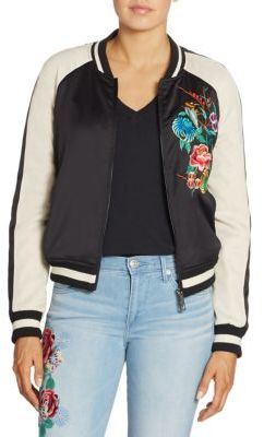 True Religion Floral Embroidered Satin Bomber Jacket $269 thestylecure.com