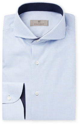 Canali Light-Blue Slim-Fit Cutaway-Collar Puppytooth Cotton Shirt - Blue