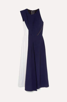 Roland Mouret Felton Two-tone Crepe Midi Dress - Navy