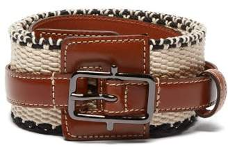 Etro Woven Cotton And Leather Belt - Womens - Tan