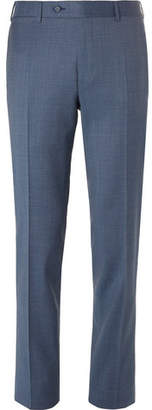 Canali Blue Milano Slim-fit Checked Wool Trousers