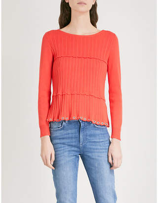 Claudie Pierlot Scalloped ribbed-knit jumper
