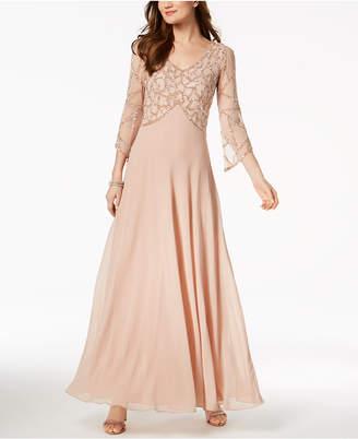 J Kara Embellished V-Neck Gown