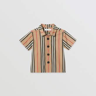 Burberry Childrens Short-sleeve Icon Stripe Cotton Shirt