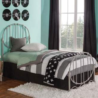 Emory Fashion Kids Metal Headboard and Footboard with Oval-Shape Spindle Panels and Decorative Curved Bed Base, Grey Finish, Full