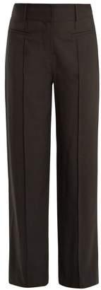 Diane Von Furstenberg - Wide Leg Pintucked Wool Blend Trousers - Womens - Black