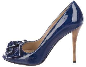 Stuart Weitzman Patent Leather Bow-Accented Pumps