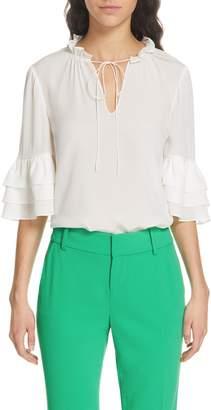 Alice + Olivia Julius Tier Sleeve Silk Tunic