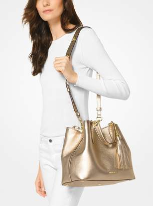 MICHAEL Michael Kors Brooklyn Large Metallic Leather Satchel