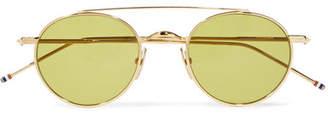 Thom Browne Round-frame Gold-tone Sunglasses