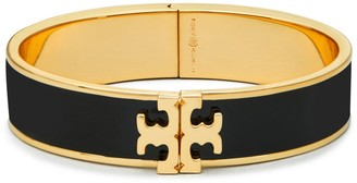 Tory Burch Enameled Raised-Logo Hinged Bracelet