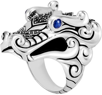John Hardy Sapphire spinel 18k yellow gold and silver naga ring