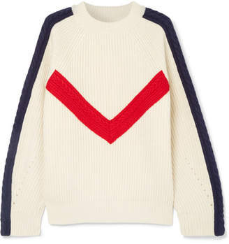 Sjyp Cable-knit Ribbed Wool Sweater - Cream