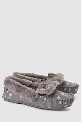 bea0efa2c2fb Next Womens Grey Star Premium Suede Moccasin Slippers
