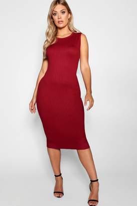 boohoo Plus Jumbo Rib Midi Dress