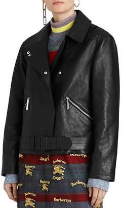 Burberry Burnham Leather Moto Jacket