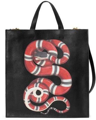 Gucci Tiger print soft GG Supreme tote