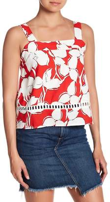J.o.a. Floral Lace Inset Tank Top