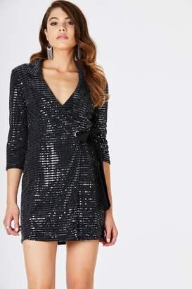 0d9cf135173 Next Womens Girls On Film Lurex Tuxedo Tie Front Jacket Dress