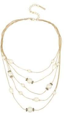 Kenneth Cole New York Pearl, Diamond and Crystal Multi-Strand Necklace