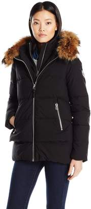 Rudsak Rud by Women's Thira Zip Front Down Coat with Fur Hood Trim