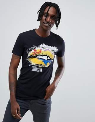 Antony Morato T-Shirt In Navy With Lips Print