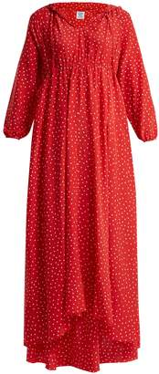 Vetements Polka-dot and Emjoi-print hooded silk dress
