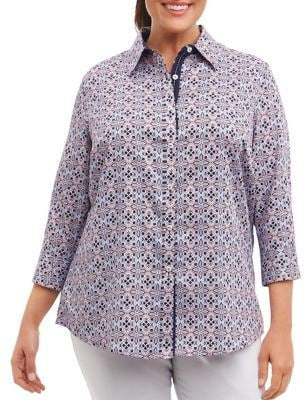 Foxcroft Tile Print Cotton Button-Down Blouse