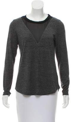 Rebecca Taylor Long Sleeve Mesh Panel T-Shirt