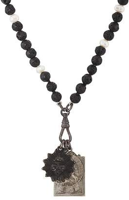 Miracle Icons Men's Vintage-Icon Lava Bead & Pearl Necklace