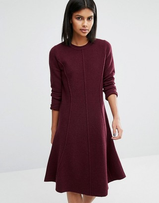 Whistles Seymour Boiled Wool Flare Dress $226 thestylecure.com