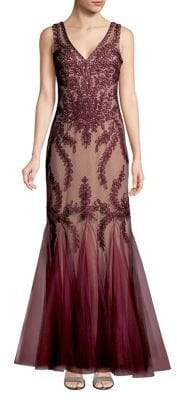 Cachet V-neck Lace Mermaid Dress