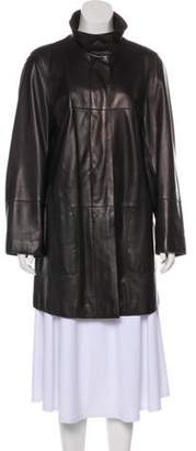Akris Leather Button-Up Coat Leather Button-Up Coat
