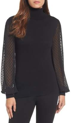 Halogen Sheer Sleeve Turtleneck Sweater