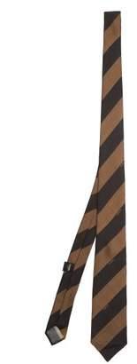 Fendi Striped Silk Tie - Mens - Black Brown